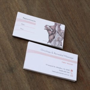 business card on recycled stock